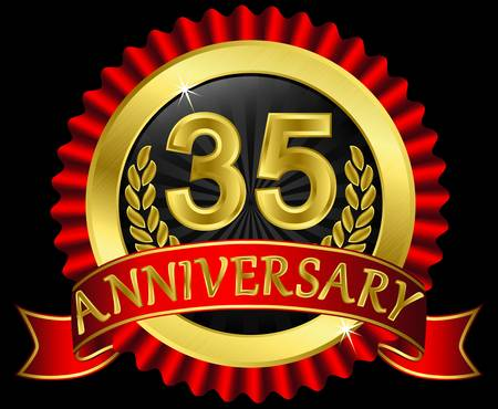35 years anniversary golden label with ribbons,  illustration Vector