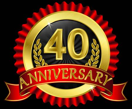 40 years anniversary golden label with ribbons,  illustration Vector