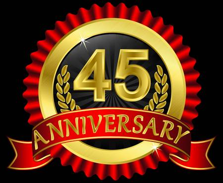 45th: 45 years anniversary golden label with ribbons, vector illustration