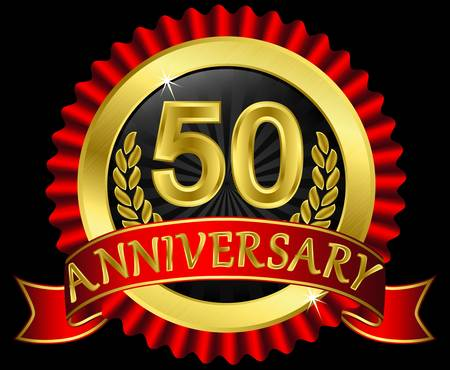 50th: 50 years anniversary golden label with ribbons,  illustration