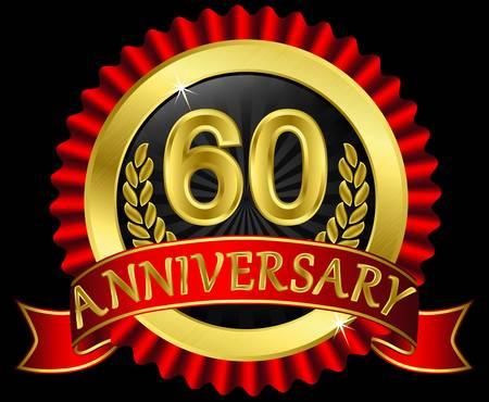 anniversary party: 60 anni etichetta nozze d'oro con nastri, illustrazione Vettoriali
