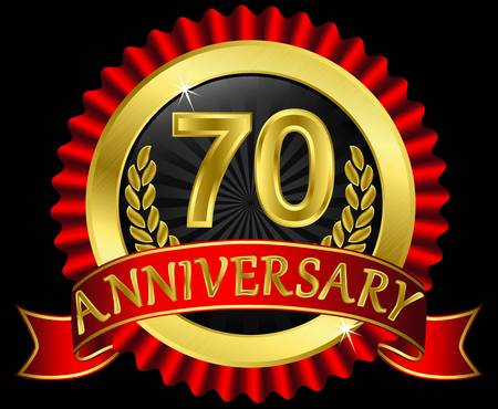 70 years anniversary golden label with ribbons,  illustration Vector