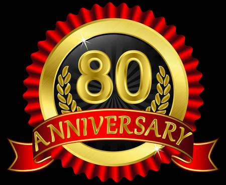 80 years anniversary golden label with ribbons, illustration Vector