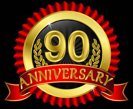 90: 90 years anniversary golden label with ribbons,  illustration