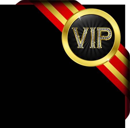 Vip golden label with diamonds and red ribbons Illustration