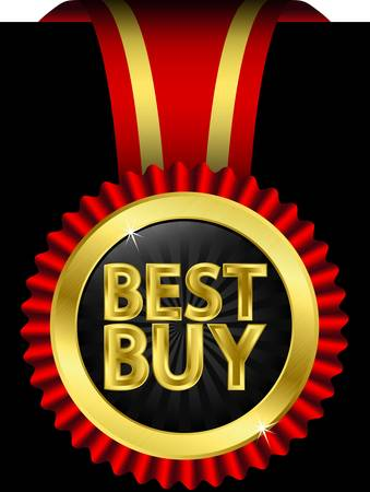 Best buy golden label with red ribbons,  illustration Stock Vector - 14659227
