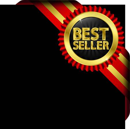 Best seller golden label with red ribbons,  illustration  Vector