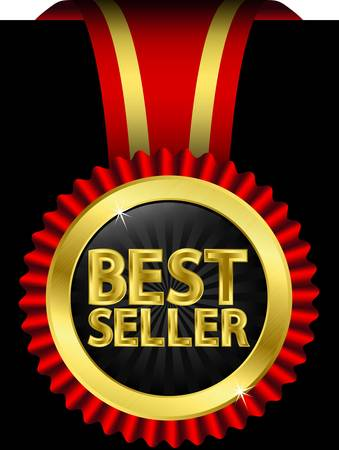 Best seller golden label with red ribbons, vector illustration  Vector
