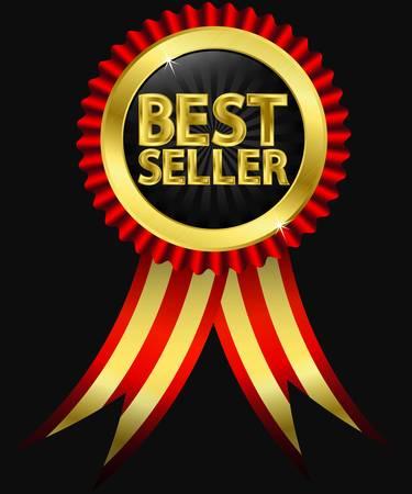 best seller: Bestseller goldenes Etikett mit roten B�ndern, Vektor-Illustration