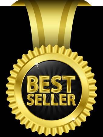 vendeurs: �tiquette best-seller d'or avec des rubans dor�s, illustration vectorielle