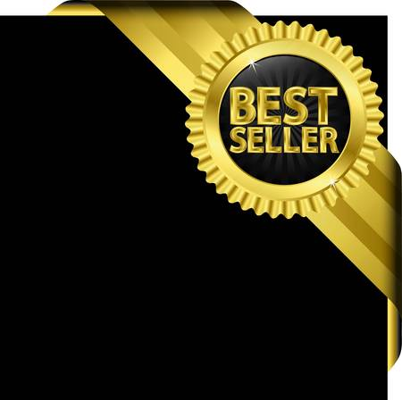 best price icon: Best seller golden label with golden ribbons,  illustration
