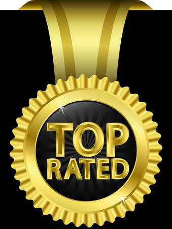 rated: Top rated golden label with golden ribbons,  illustration