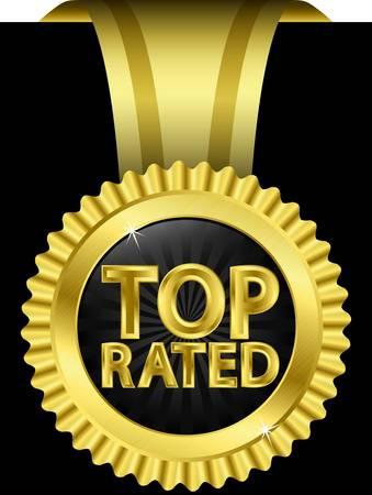 medal ribbon: Top rated golden label with golden ribbons,  illustration