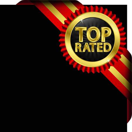 rated: Top rated golden label with red ribbons,illustration