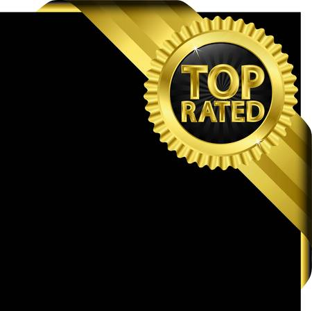 approval icon: Top rated golden label with golden ribbons, illustration