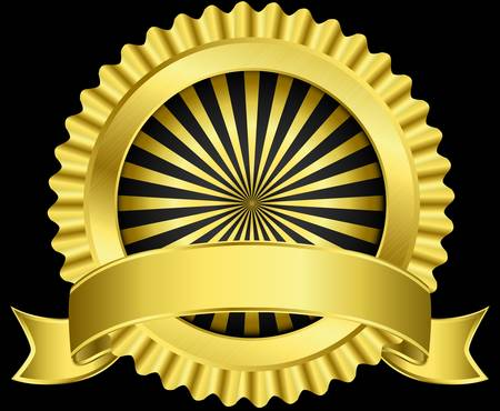 Golden label with ribbon,  illustration Vector
