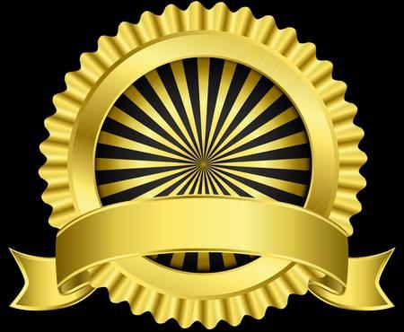 Golden label with ribbon,  illustration Illustration