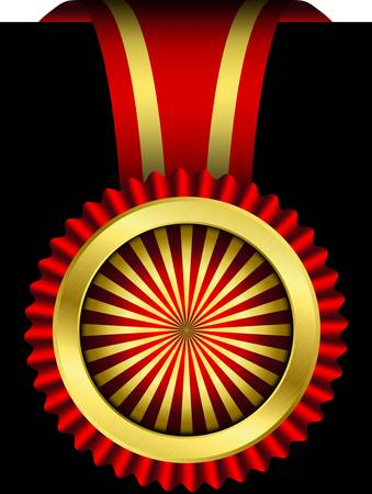 victory sign: Golden label with red ribbon, vector illustration
