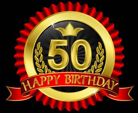 50th:  50 years happy birthday golden label with ribbons, illustration