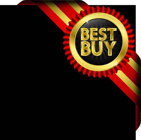 Best buy golden label with red ribbons Vector