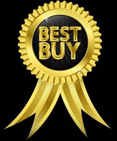 Best buy golden label with golden ribbons Vector