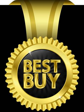 Best buy golden label with golden ribbons Vector