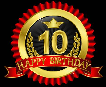 10 years happy birthday golden label with ribbons