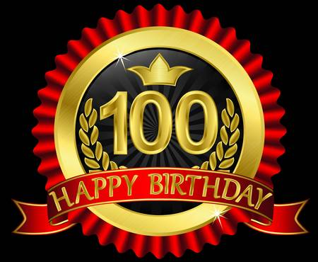 congratulations sign: 100 years happy birthday golden label with ribbons, vector illustration