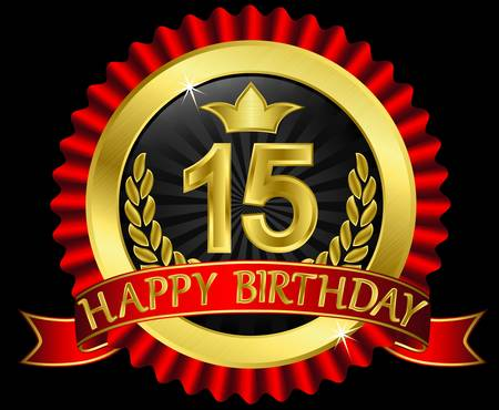 15 years happy birthday golden label with ribbons Vector
