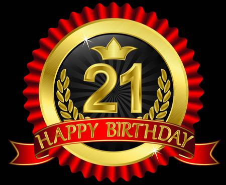 21 years happy birthday golden label with ribbons