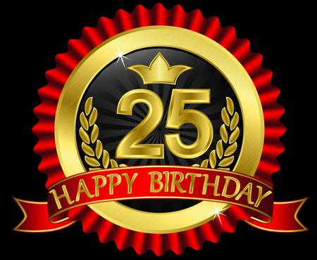 25 years happy birthday golden label with ribbons Vector