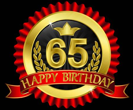 65 years happy birthday golden label with ribbons