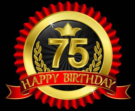 75 years happy birthday golden label with ribbons