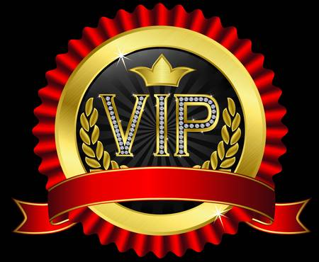 Vip golden label with diamonds and red ribbons Stock Vector - 14713846