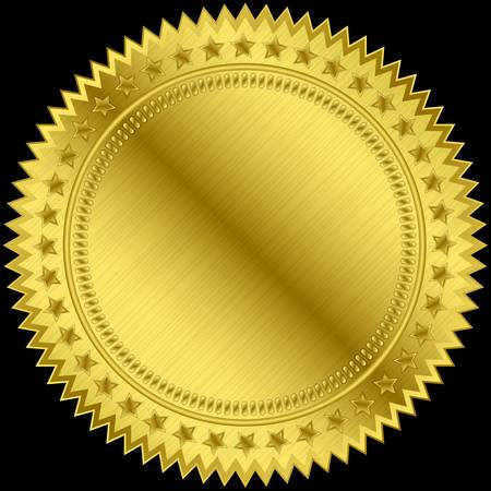 seal of approval: Golden blank label, vector illustration