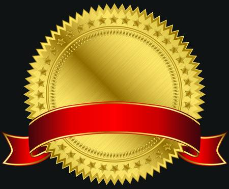 Golden blank label with red ribbon, vector illustration Vector