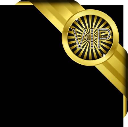 vip symbol: Vip etiqueta de oro con diamantes y cintas de oro, vector