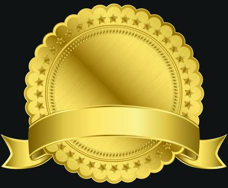 approval icon: Golden blank label with ribbon,illustration  Illustration