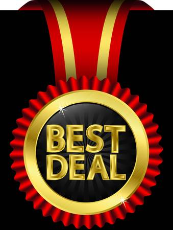 Best deal golden label with ribbons Stock Vector - 14713848