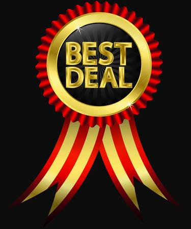 best: Best deal golden label with ribbons