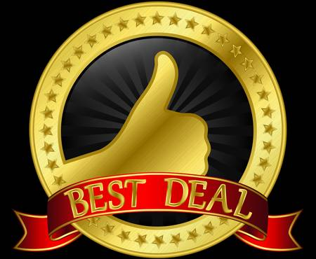 Best deal golden label with ribbon Stock Vector - 14713854