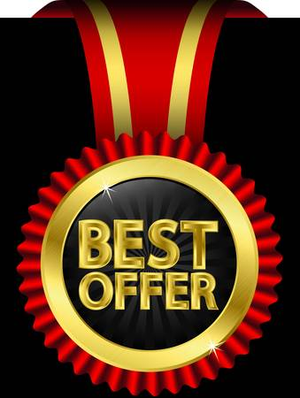 Best offer golden label with red ribbons Vector
