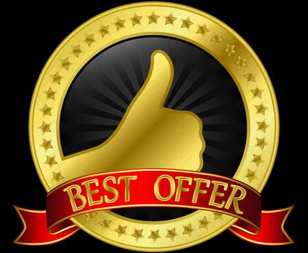 Best offer golden label with red ribbon Vector