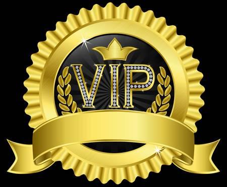 vip symbol: Vip etiqueta de oro con diamantes y cintas de oro