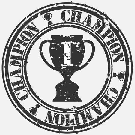triunfador: Grunge campe�n del sello de goma, ilustraci�n Vectores