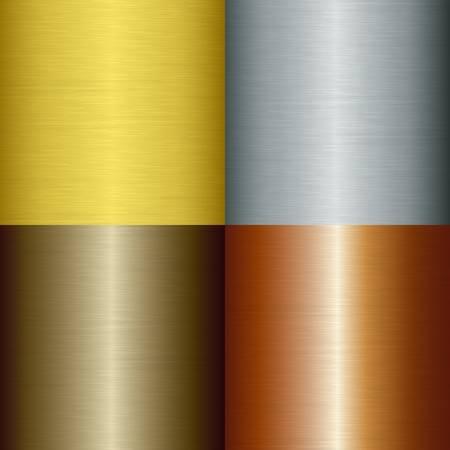 brushed aluminum: Metal pulido set, ilustraci�n Vectores