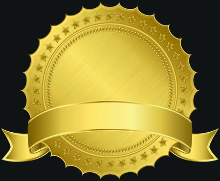 Golden blank label with golden ribbon, vector illustration Vector