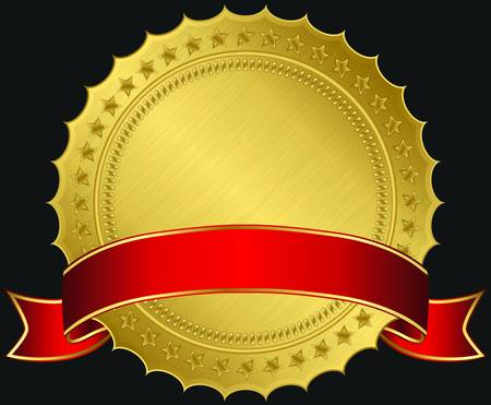 Golden blank label with red ribbon, illustration  Vector