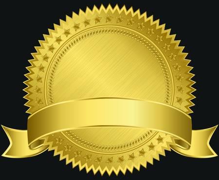zeehonden: Gouden blanco etiket met gouden lint, illustratie