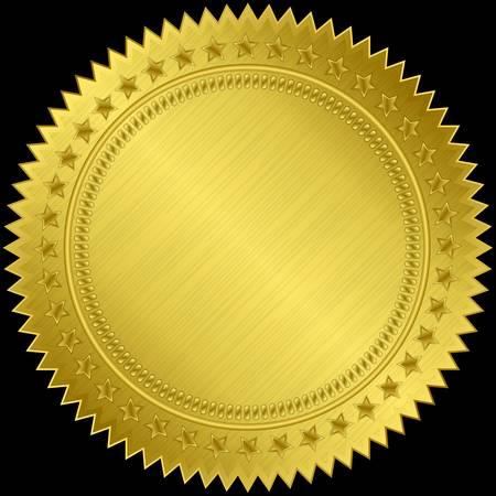 gold ribbon: Golden blank label, illustration  Illustration